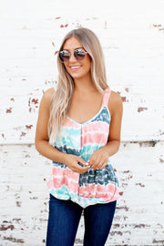 Tie Dye Twist Tank (Mint) FINAL SALE