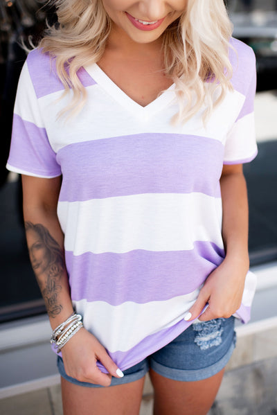 Play It By Ear Striped V-Neck (Lavender)