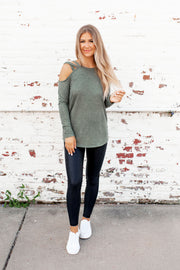 The Evie Cold Shoulder Top (Olive) FINAL SALE