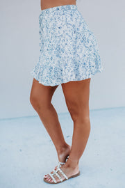 Key West Floral Ruffle Skirt (Ivory/Blue)