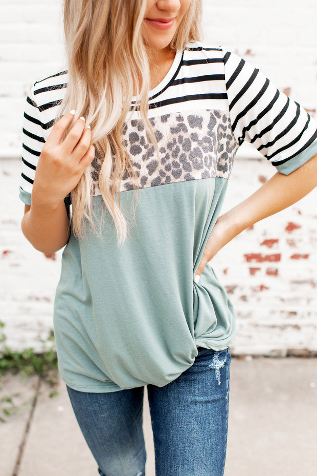 Spotted In Stripes Twist Top (Sage)