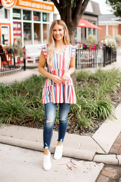 Jalen Tiered Striped Tank FINAL SALE