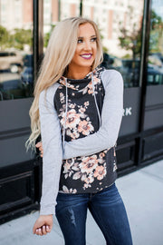 Fall Fun Hoodie (Floral/Grey Sleeves)