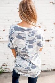 The Vella V-Neck Tee (Mint/Grey Camo)FINAL SALE