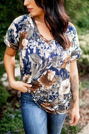 B/C I Said So Floral V-Neck (Navy/Green/Brown)
