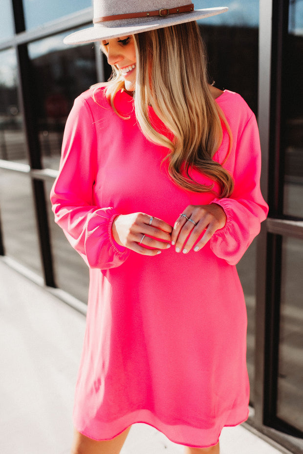 Positive Wishes Dress (Neon Pink)