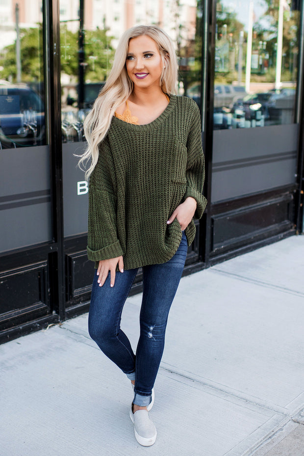 Sedona Knit Sweater (Olive)
