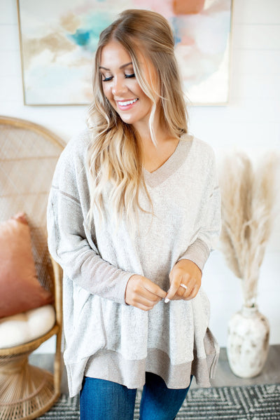 Inside Out Heathered V-Neck (Taupe)