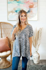 Anna Asymmetrical V-Neck (Grey/Ivory)FINAL SALE