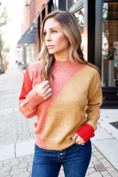 Full Of Warmth Knit Sweater (Coral/Mustard)