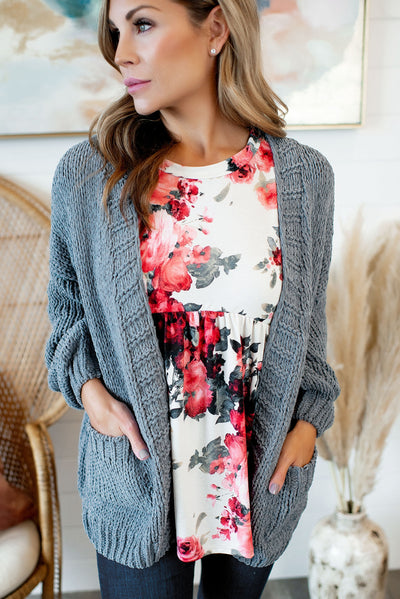 Always Cozy Chenille Cardigan (Slate)