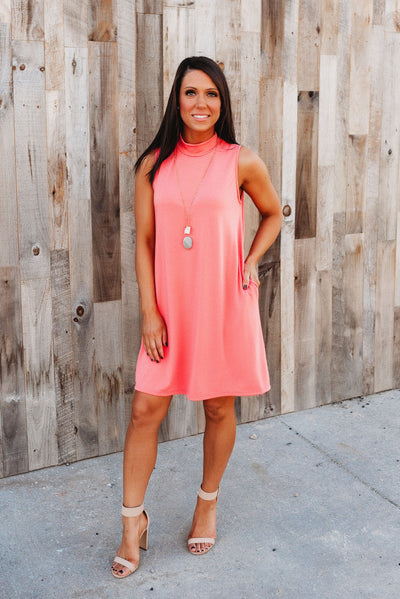 The Melody Mock Neck Dress (Coral)
