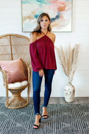Oh You Fancy Cold Shoulder Blouse (Wine)