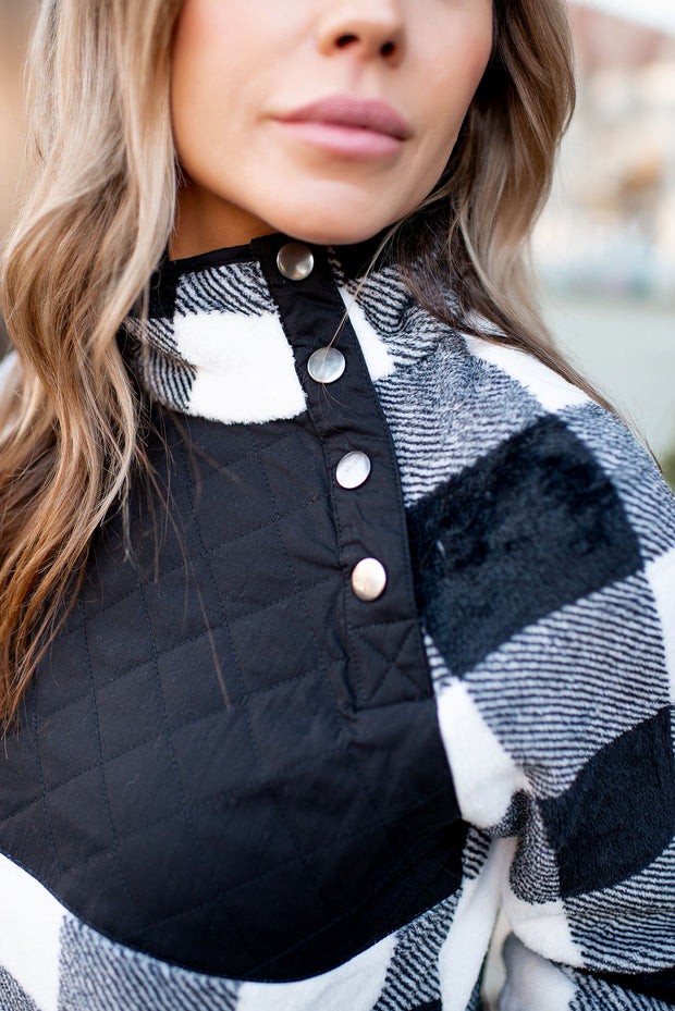 Quilted Buffalo Pullover (Black/White)