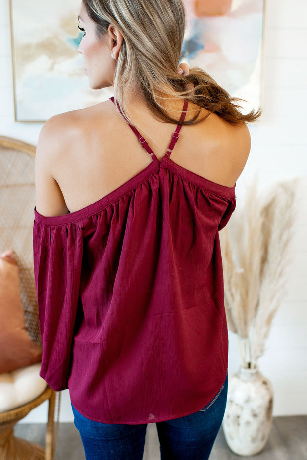 Oh You Fancy Cold Shoulder Blouse (Wine) DEAL OF THE DAY