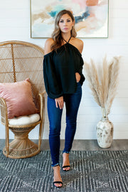 Oh You Fancy Cold Shoulder Blouse (Black)