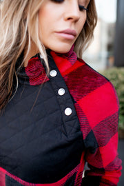 Quilted Buffalo Pullover (Red/Black)FINAL SALE