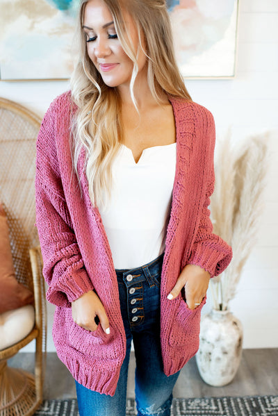 Always Cozy Chenille Cardigan (Rose)