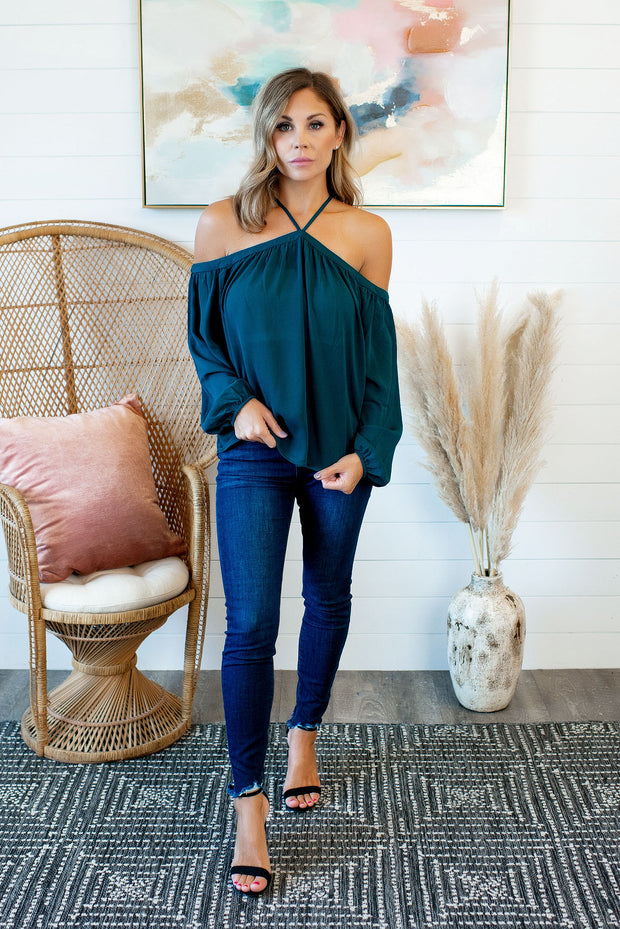 Oh You Fancy Cold Shoulder Blouse (Teal)