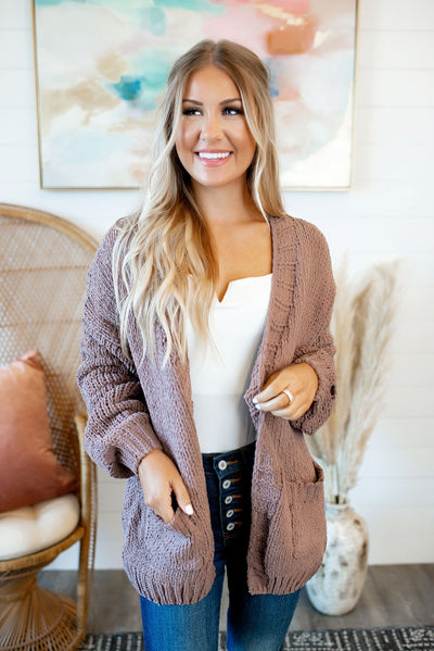 Always Cozy Chenille Cardigan (Brown)
