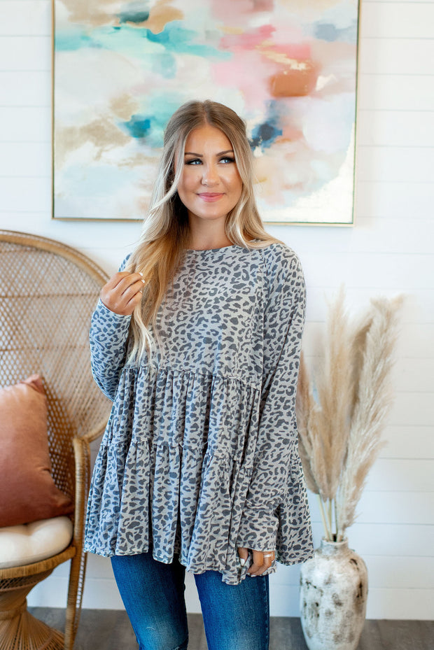 Spotted Tiered Tunic (Grey)