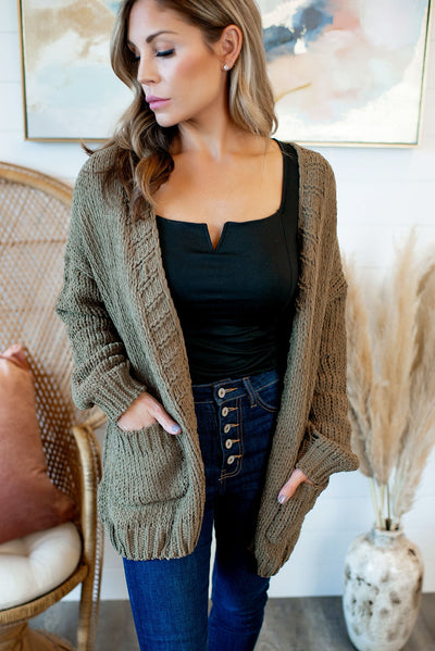 Always Cozy Chenille Cardigan (Olive)