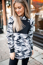 Quilted Camo Pullover (Grey)FINAL SALE