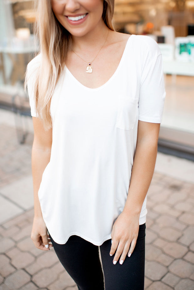 Easy Peasy Pocket Top (White)