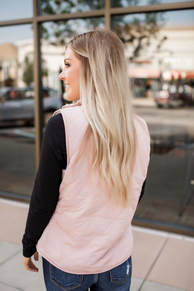 Convertible Sherpa Vest (Blush)
