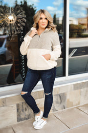 Cool and Cozy Half Zip Jacket (Taupe)