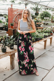 Season Of Stripes Floral Maxi (Navy)
