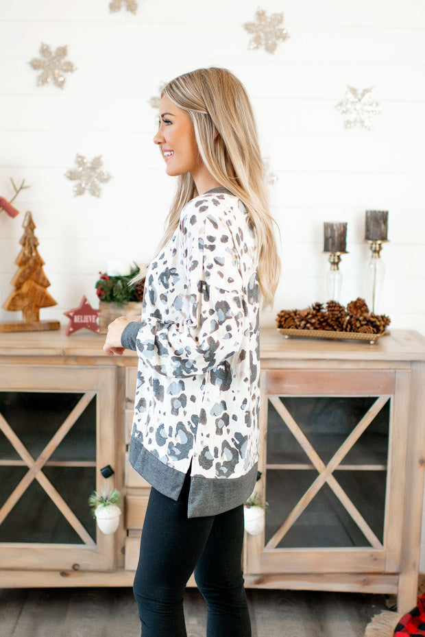 Printed L/S Top (Grey Spots) DOORBUSTER
