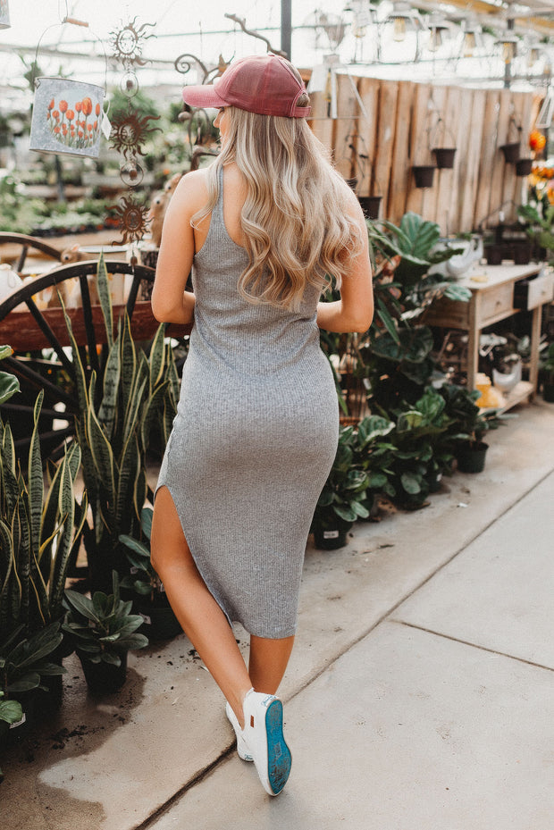 Tell Me More Midi Dress (Grey)