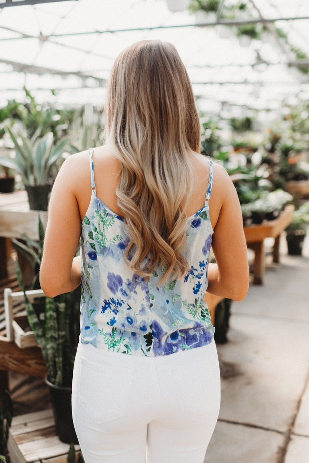 Watercolor Floral Knot Tank (Violet/Blue)