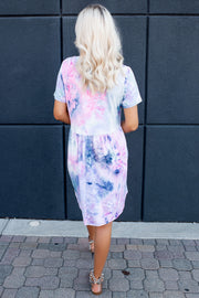 Tie Dye Babydoll Dress (Navy/Pink)