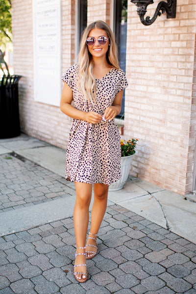 Spotted Knit Dress (Taupe)