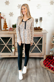 Spotted Latte Top (Taupe) FINAL SALE