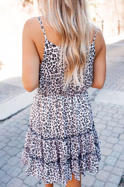 Silk Ruffle Dress (Leopard)