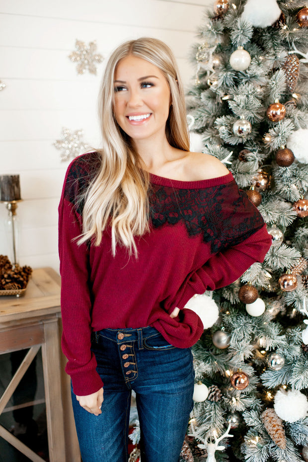 All About That Lace Ribbed Top (Burgundy) DOORBUSTER