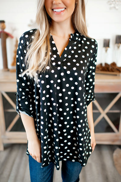 Gabby Dot Top (Black/White) DOORBUSTER