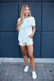 Ocean Eyes Knit Shorts (Mint Tie Dye)FINAL SALE