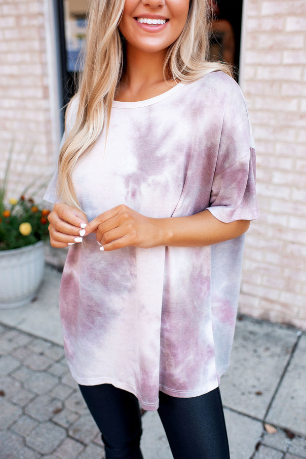 The Erica Tie Dye Tee (Plum/Taupe)FINAL SALE