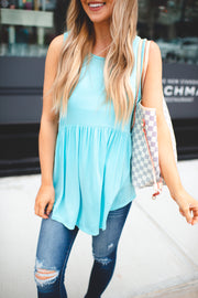 Babydoll Tunic Tank (Sky Blue) FINAL SALE