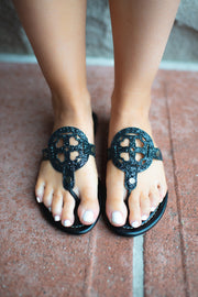 The London Flip Flops (Black Glitter) FINAL SALE