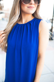 The Donna Pleated Dress (Royal Blue)