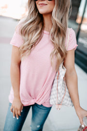 The Gemma Striped Twist Top (Pink)