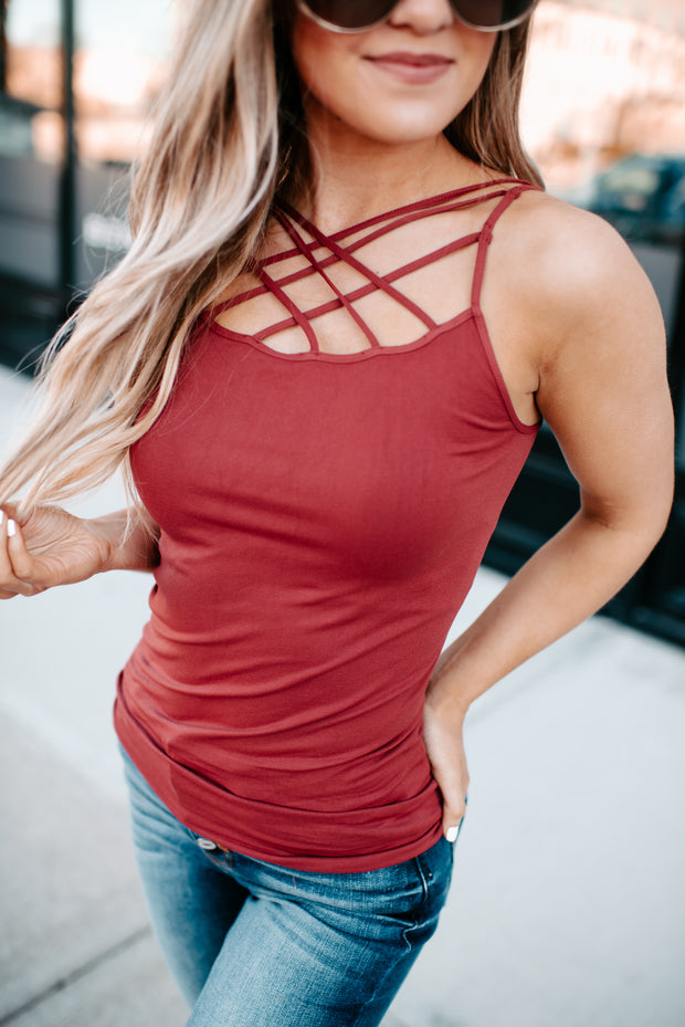 Seamless Strappy Cami (Red Pear)