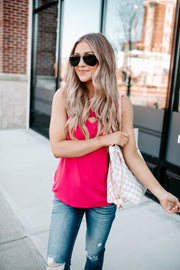 It's Time Criss Cross Tank (Hot Pink)