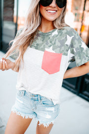 Starred In Camo Pocket Top (Coral)