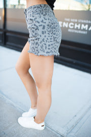 KanCan Leopard Denim Shorts (Grey)